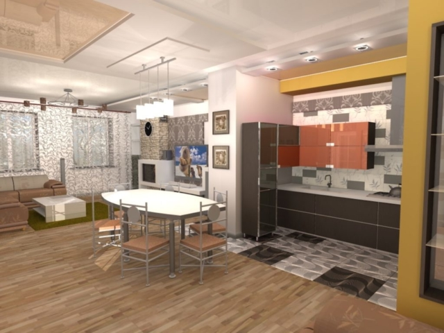 Индивидуальный жилой дом г. Иваново, 1 этаж, зал, Рис 1