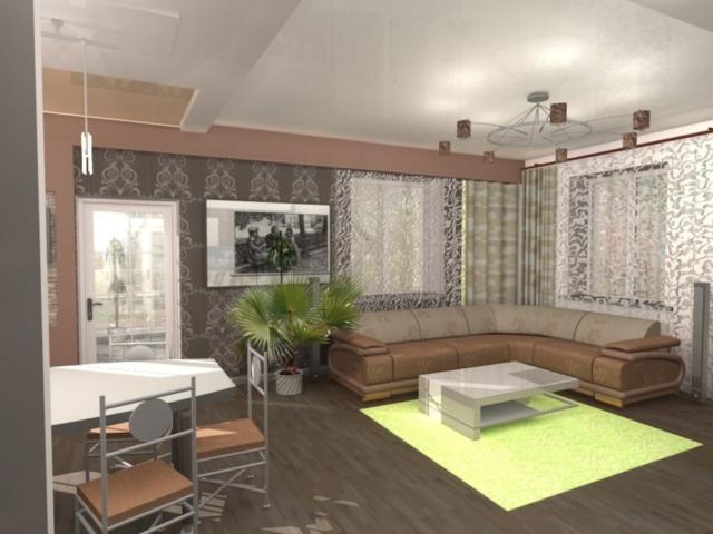 Индивидуальный жилой дом г. Иваново, 1 этаж, зал, Рис 8