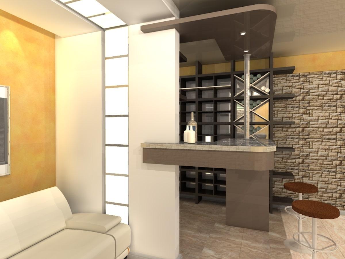 Интерьер дома на одну семью, 1 этаж, бильярд, Рис 6
