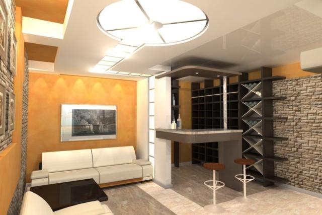 Интерьер дома на одну семью, 1 этаж, бильярд, Рис 5