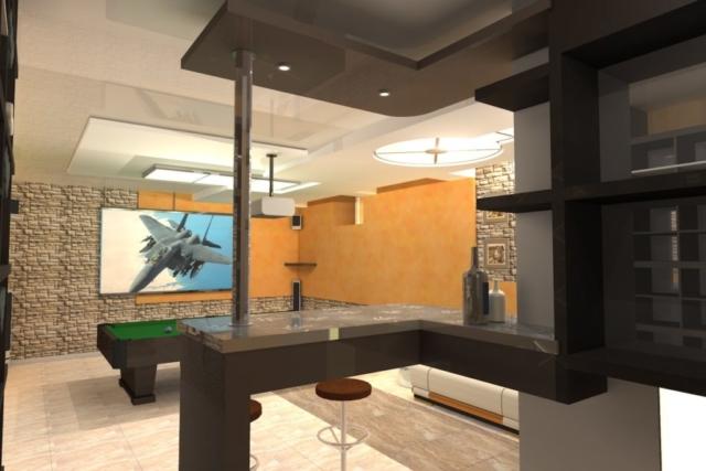 Интерьер дома на одну семью, 1 этаж, бильярд, Рис 4