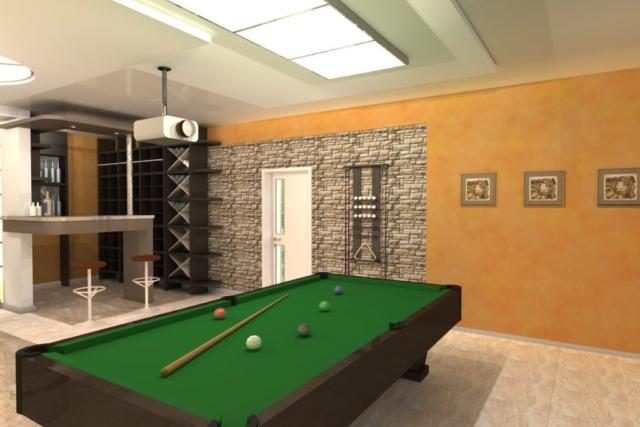 Интерьер дома на одну семью, 1 этаж, бильярд, Рис 3