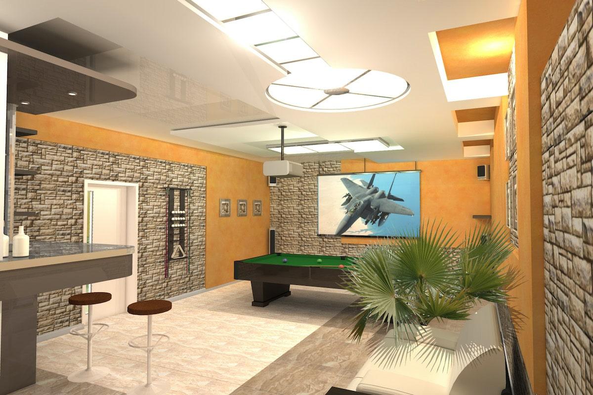 Интерьер дома на одну семью, 1 этаж, бильярд, Рис 2