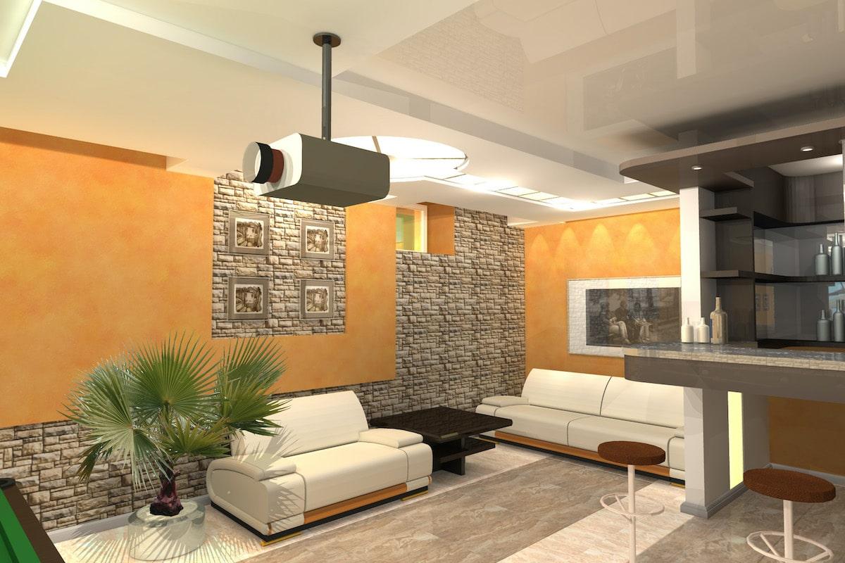 Интерьер дома на одну семью, 1 этаж, бильярд, Рис 1