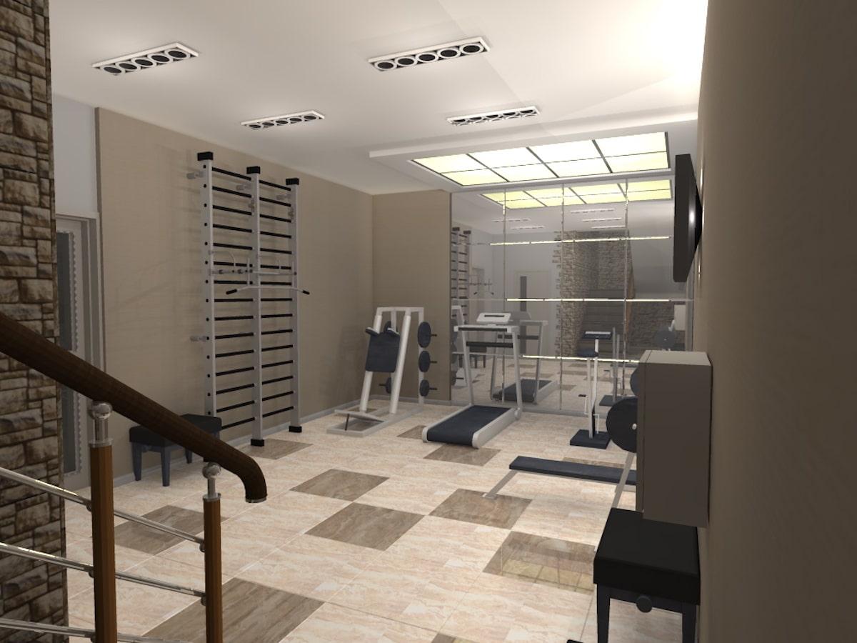 Интерьер дома на одну семью, 1 этаж, спортзал, Рис 1