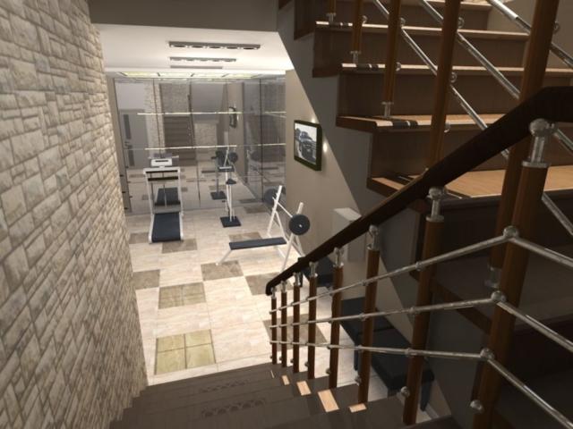 Интерьер дома на одну семью, 1 этаж, спортзал, Рис 6