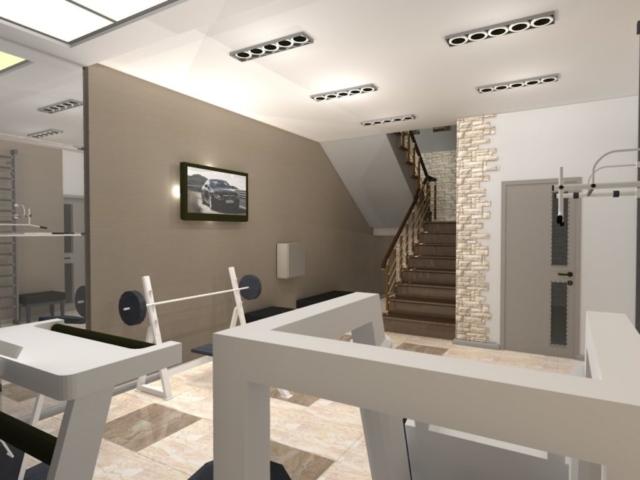 Интерьер дома на одну семью, 1 этаж, спортзал, Рис 5