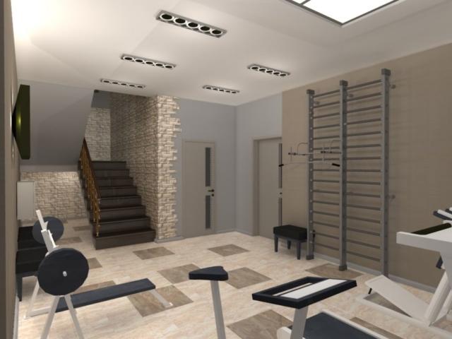 Интерьер дома на одну семью, 1 этаж, спортзал, Рис 4