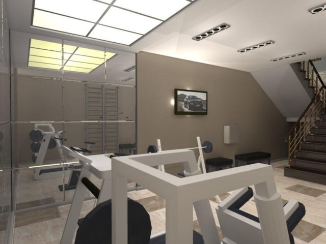Интерьер дома на одну семью, 1 этаж, спортзал, Рис 3