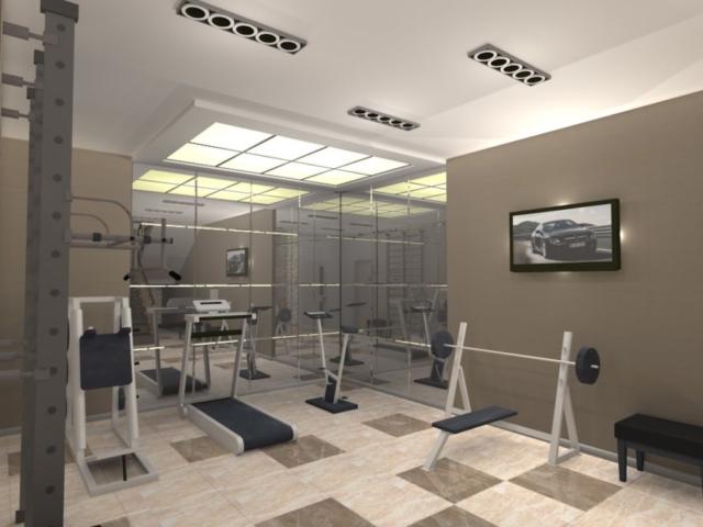 Интерьер дома на одну семью, 1 этаж, спортзал, Рис 2