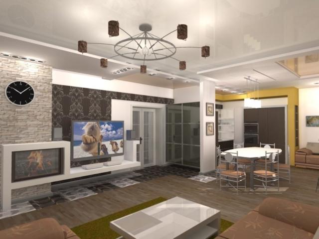 Интерьер дома на одну семью, 1 этаж, зал, Рис 2