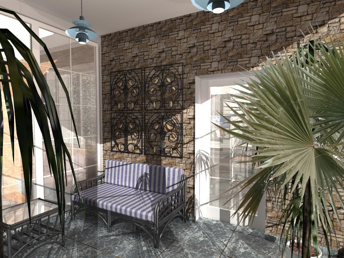 Интерьер дома на одну семью, 1 этаж, зал, Рис 5