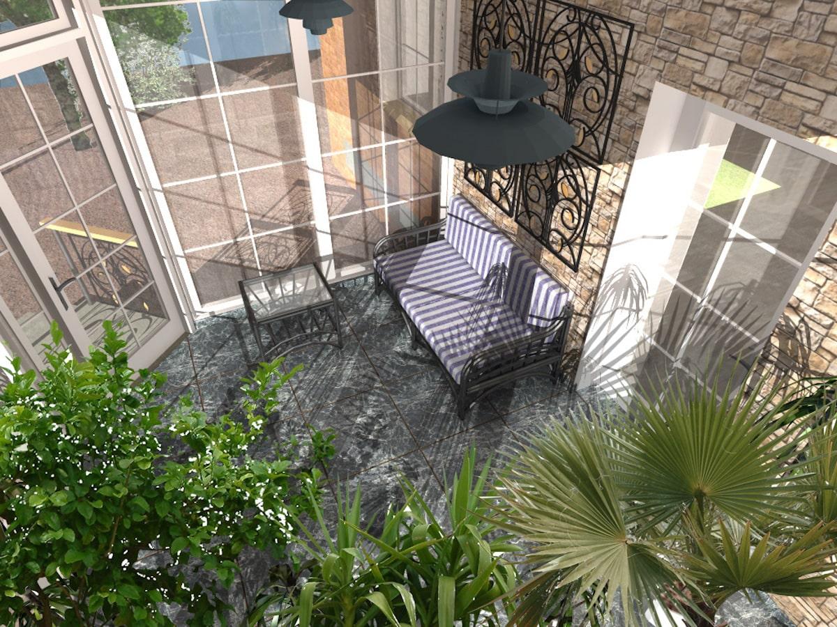 Интерьер дома на одну семью, 1 этаж, зал, Рис 4