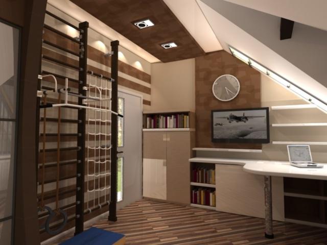 Интерьер дома на одну семью, 2 этаж, 2 спальня, Рис 1