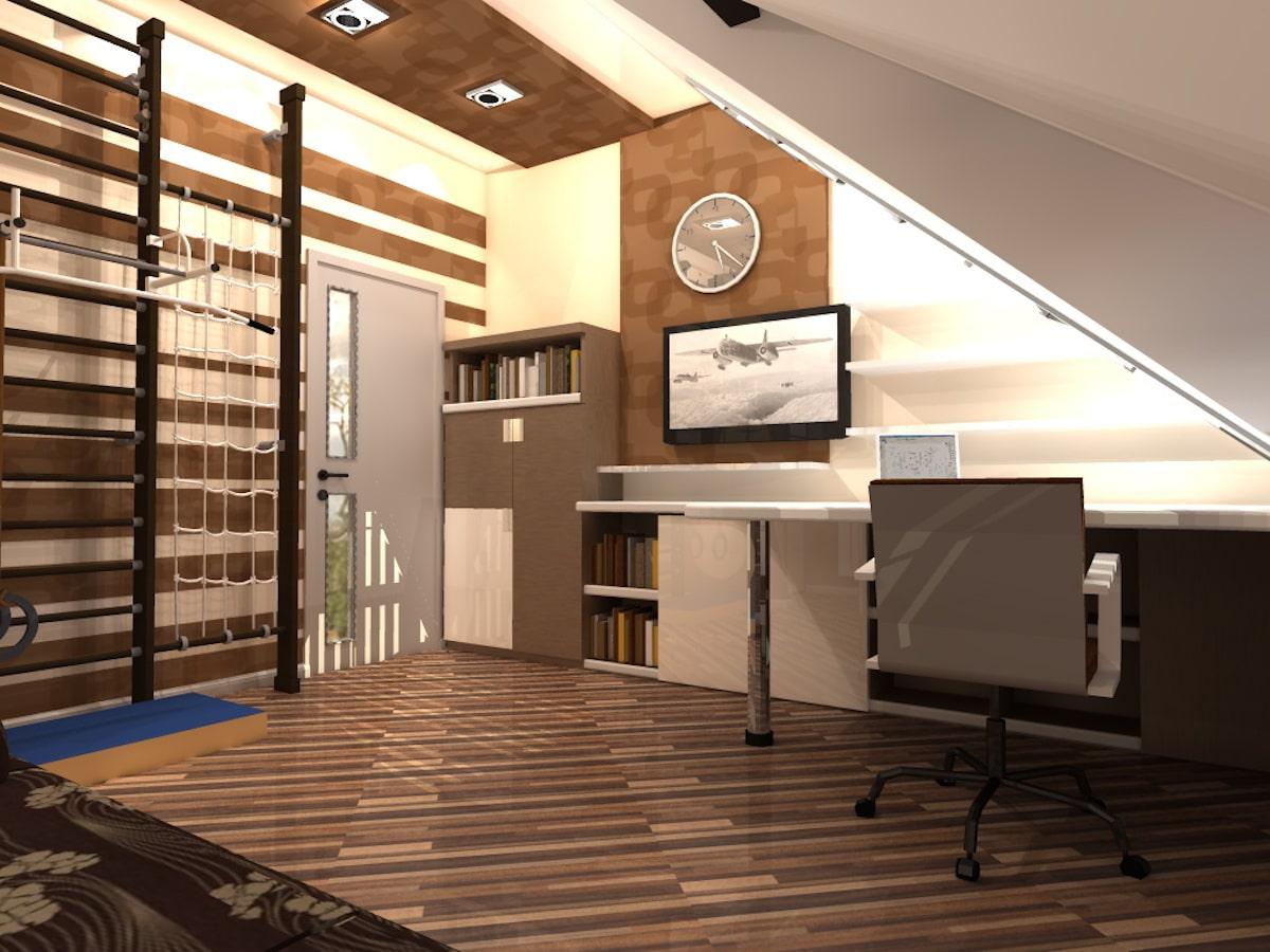 Интерьер дома на одну семью, 2 этаж, 2 спальня, Рис 6