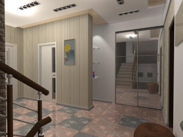 Интерьер дома на одну семью, 2 этаж, хол, Рис 1