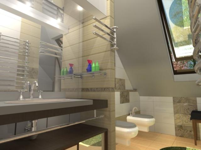 Интерьер дома на одну семью, 2 этаж, санузел, Рис 2