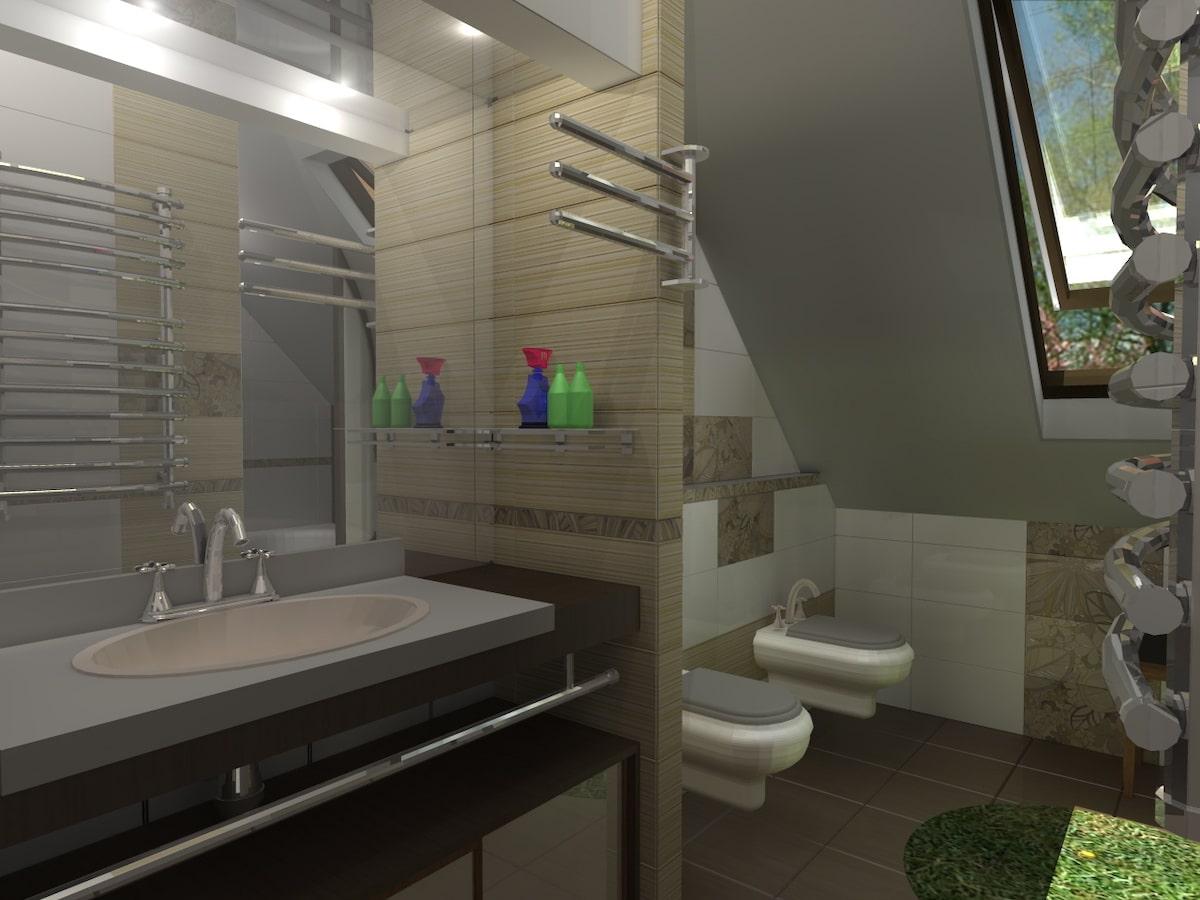 Интерьер дома на одну семью, 2 этаж, санузел, Рис 6