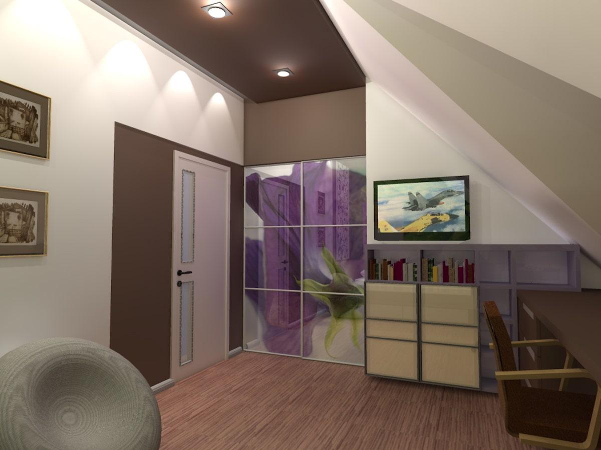 Интерьер дома на одну семью, 2 этаж, спальня, Рис 1