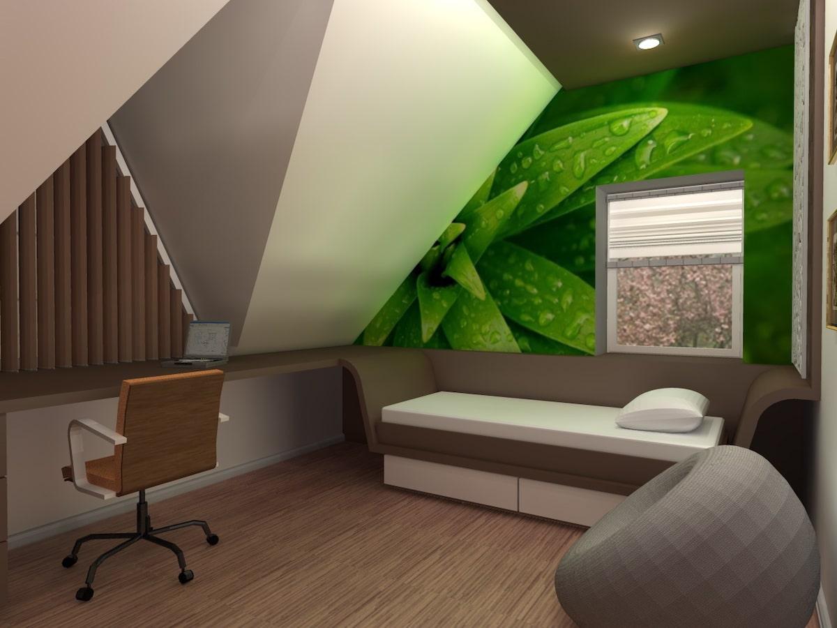 Интерьер дома на одну семью, 2 этаж, спальня, Рис 11