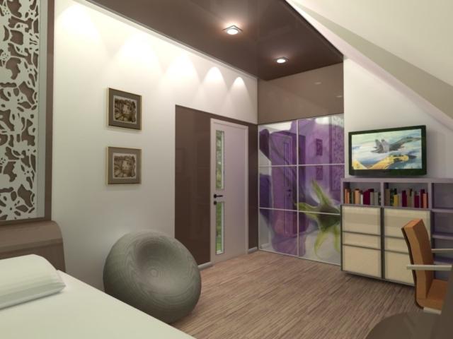 Интерьер дома на одну семью, 2 этаж, спальня, Рис 4