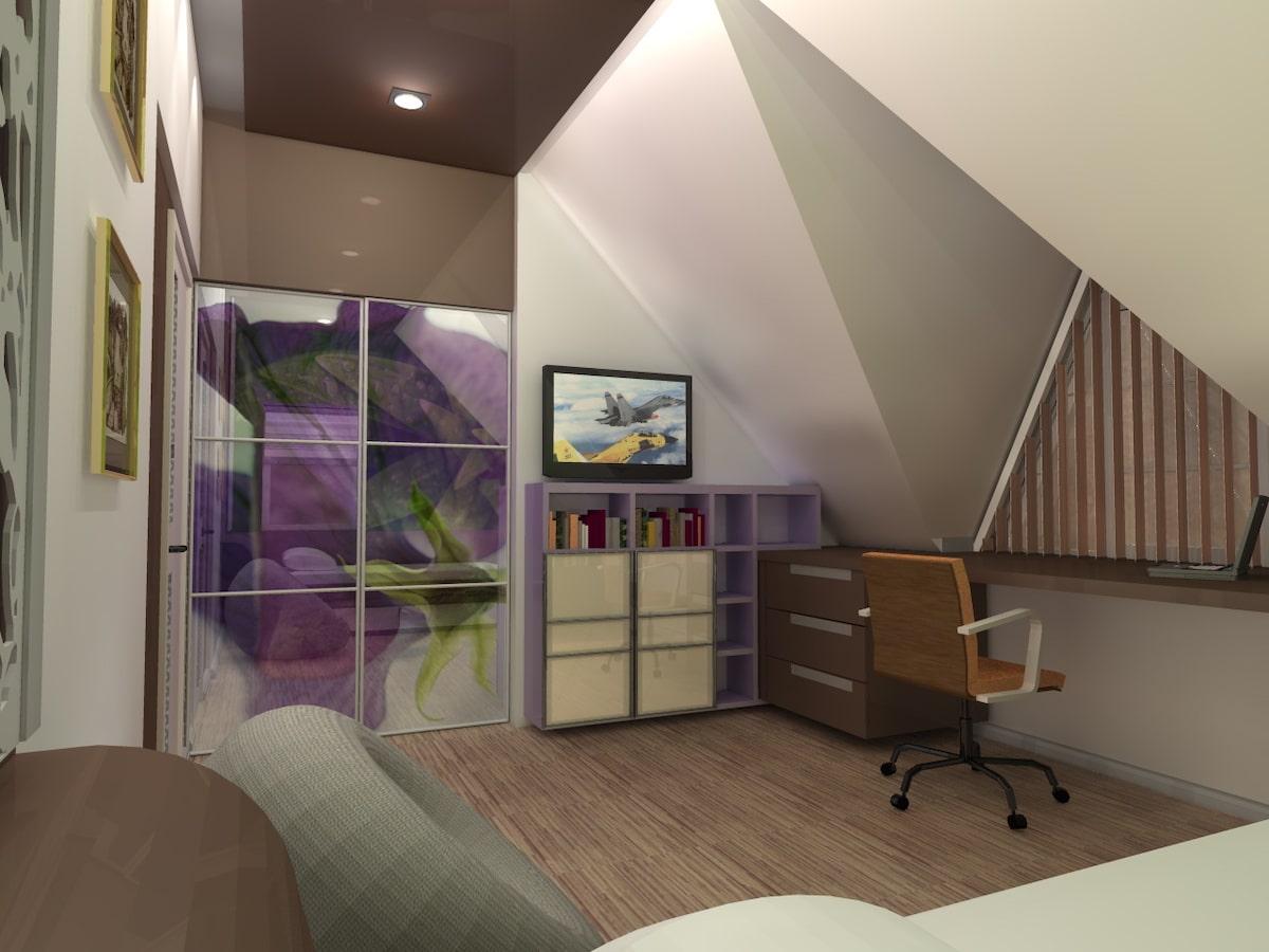 Интерьер дома на одну семью, 2 этаж, спальня, Рис 6