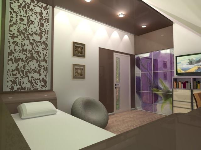 Интерьер дома на одну семью, 2 этаж, спальня, Рис 7