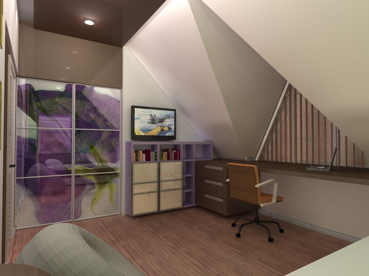 Интерьер дома на одну семью, 2 этаж, спальня, Рис 8