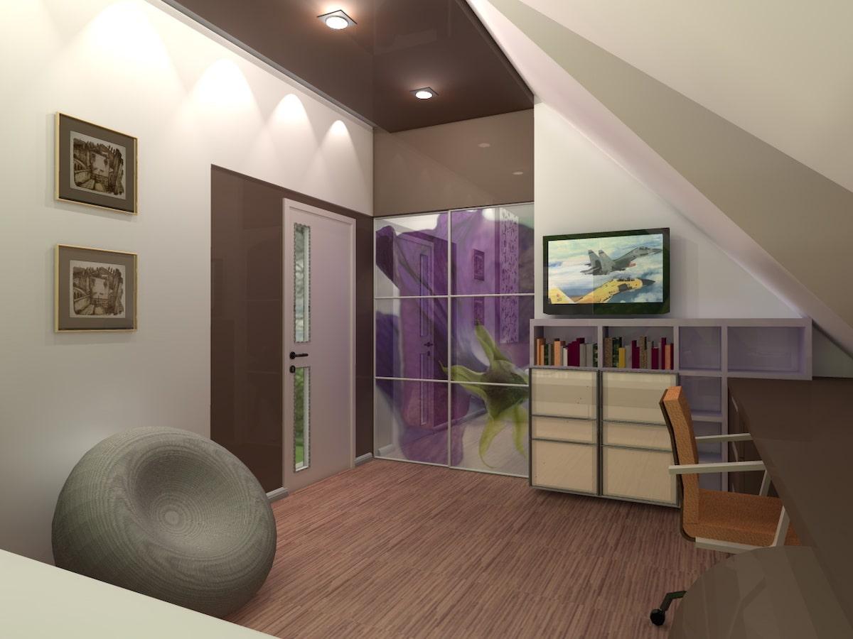 Интерьер дома на одну семью, 2 этаж, спальня, Рис 9