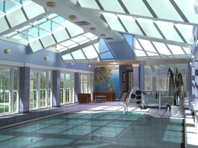 Интерьер коттеджа, 1 этаж, бассейн, Рис 1