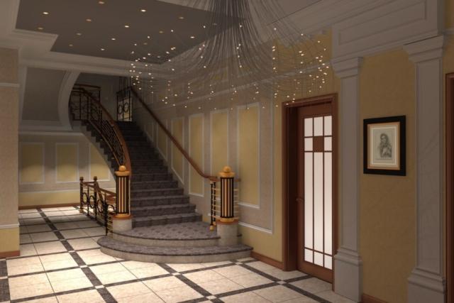 Интерьер коттеджа, 1 этаж, хол