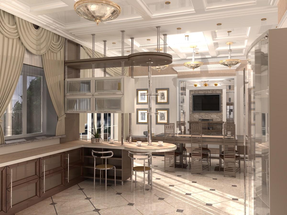 Интерьер коттеджа, 1 этаж, кухня, Рис 1