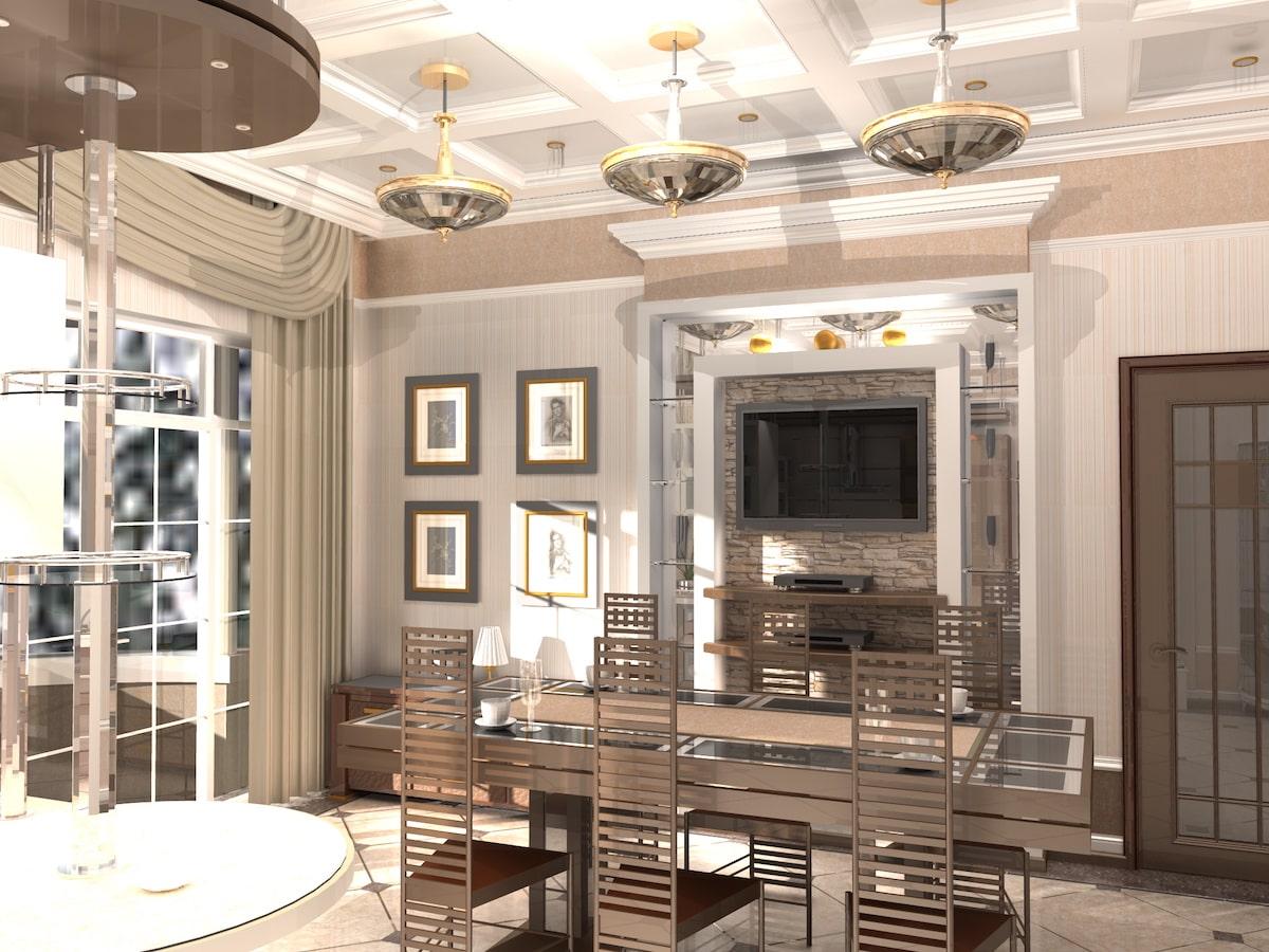 Интерьер коттеджа, 1 этаж, кухня, Рис 2