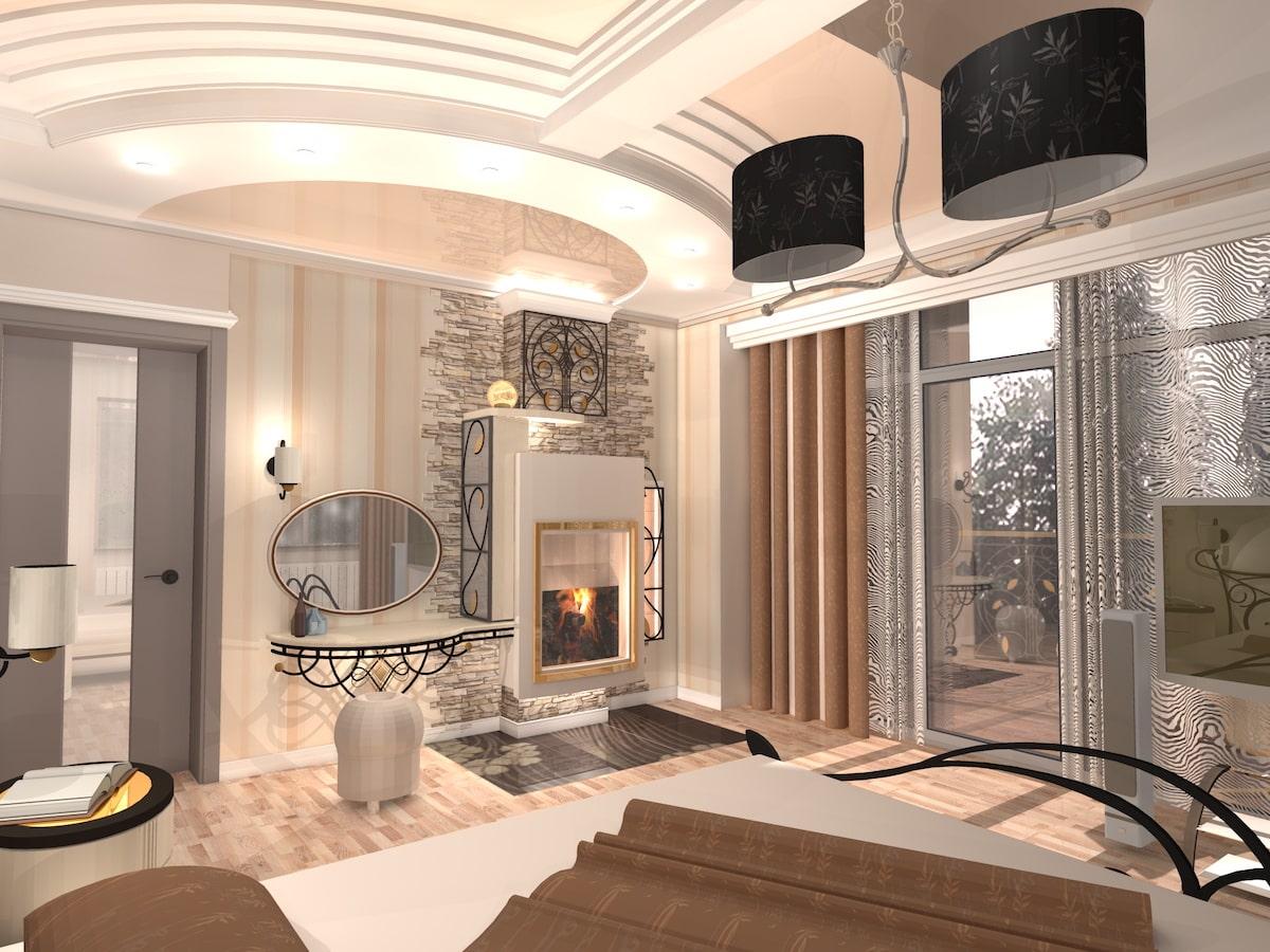Интерьер коттеджа, 2 этаж, 1 спальня, Рис 1