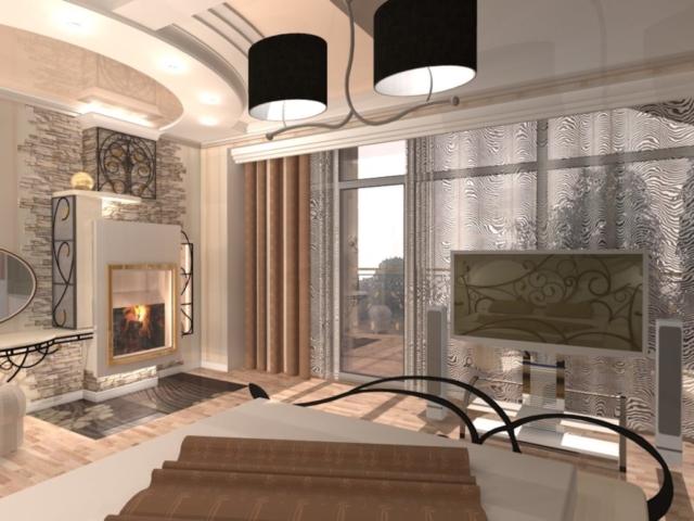 Интерьер коттеджа, 2 этаж, 1 спальня, Рис 2