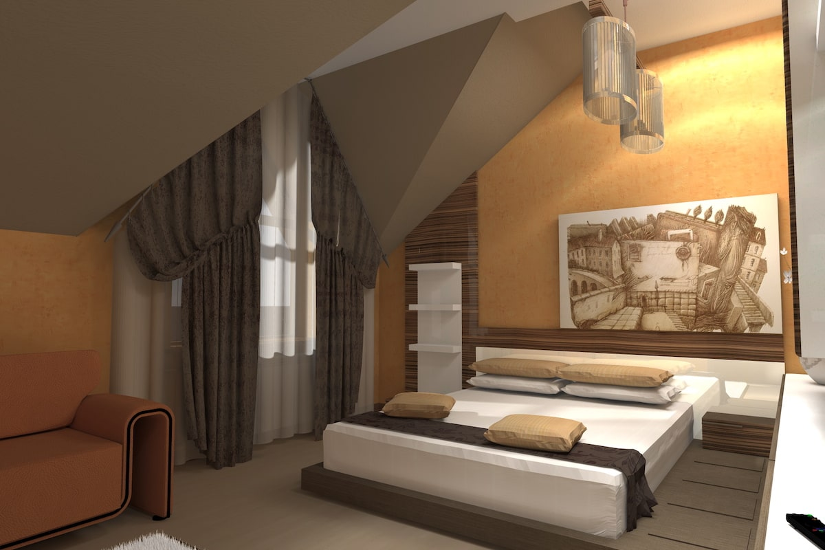 Интерьер коттедж, спальня, Рис 1