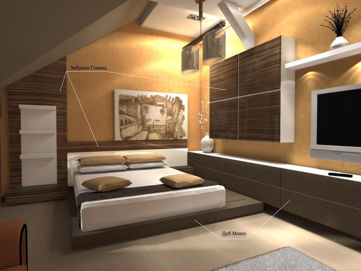 Интерьер коттедж, спальня, Рис 2