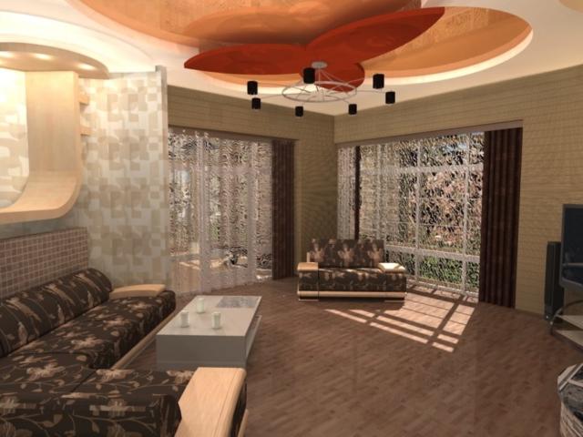 Интерьеры частного дома, 1 этаж, зал, Рис 1